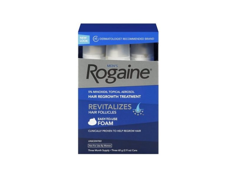 Men's Rogaine Extra Strength, 5% Minoxidil Topical Aerosol Hair Regrowth Treatment Foam, Unscented