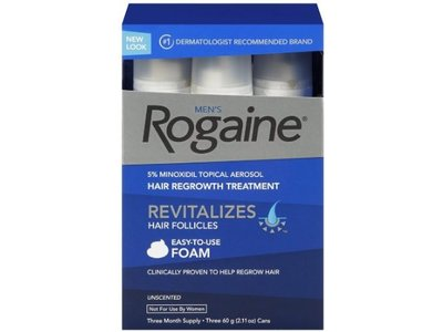 Men's Rogaine Extra Strength, 5% Minoxidil Topical Aerosol Hair Regrowth Treatment Foam, Unscented - Image 1