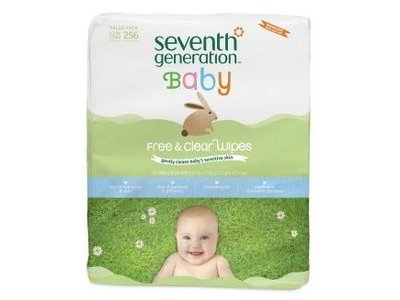 Seventh Generation Free & Clear Baby Wipes Refill Pack, Unscented, 256 Wipes