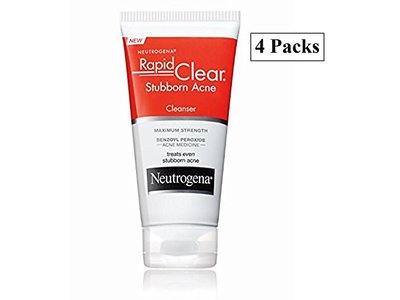 Neutrogena Rapid Clear Stubborn Acne Cleanser Maximum Strength. 5 Fl Oz. Pack of 4.