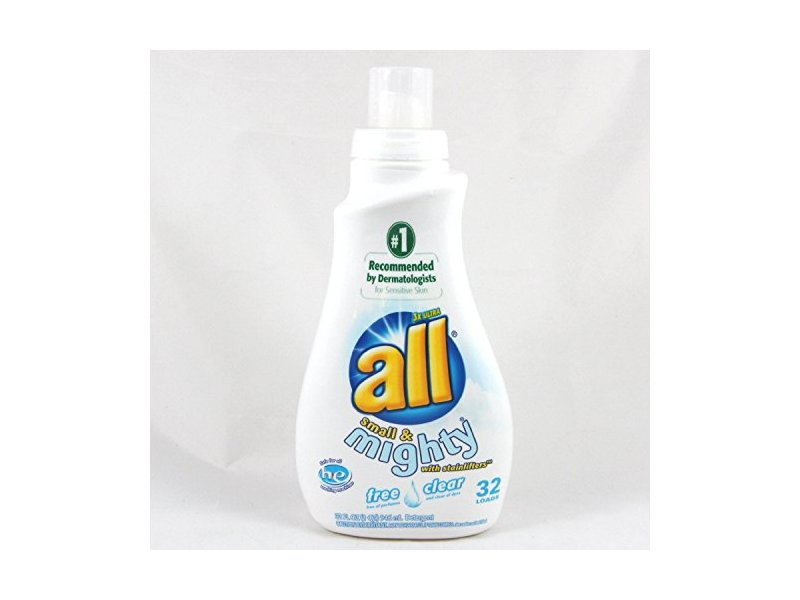 All Free Clear Liquid Laundry Detergent with Stainlifters, Small & Mighty HEC, 32 fl oz