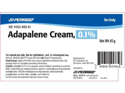 Adapalene Cream 0.1% (RX) 45 Grams, - Image 1
