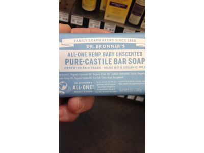 Dr. Bronner's All-One Hemp Baby Unscented Pure-Castile Bar Soap, 5 oz - Image 3