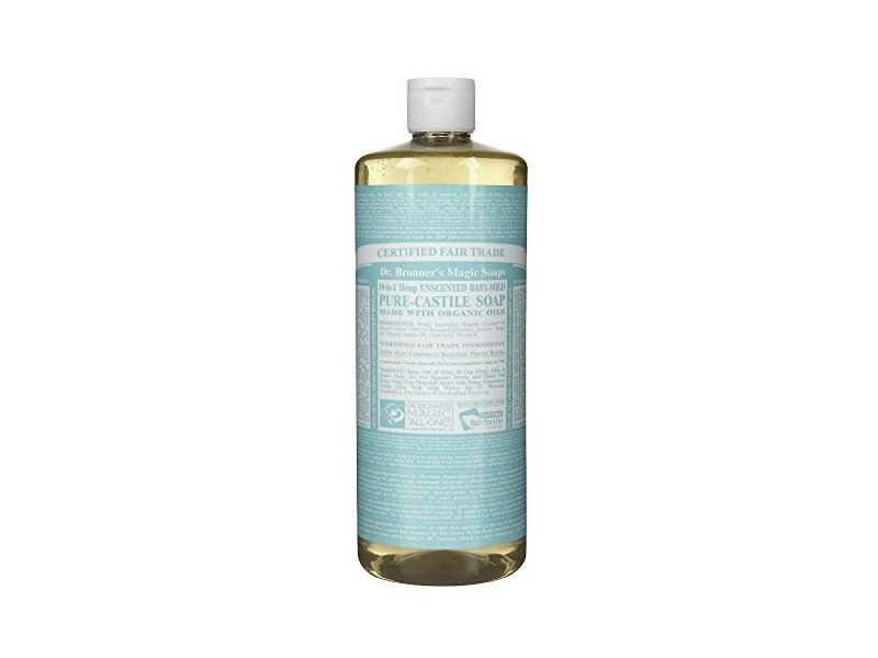 Dr. Bronner's 18-in-1 Hemp Baby Unscented Pure-Castile Soap, 32 fl. oz