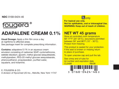 Adapalene 0.1% Topical Cream (RX) 45 Grams, Sandoz - Image 1