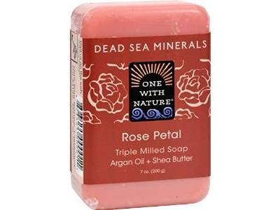 One With Nature Dead Sea Mineral Rose Petal Soap, 7 oz