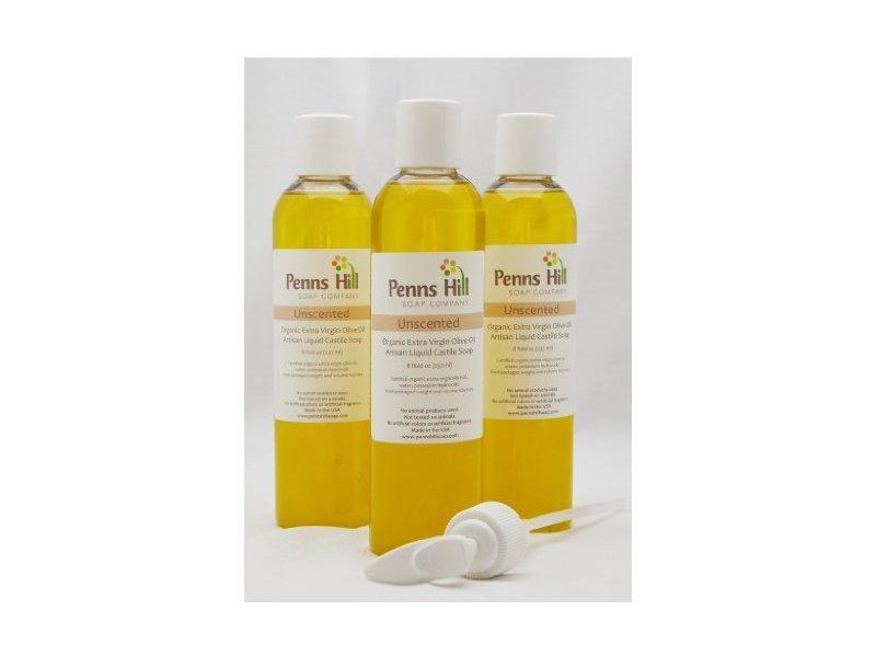 Penns Hill Organic Extra Virgin Olive Oil Castile Soap, Unscented, 8 fl oz
