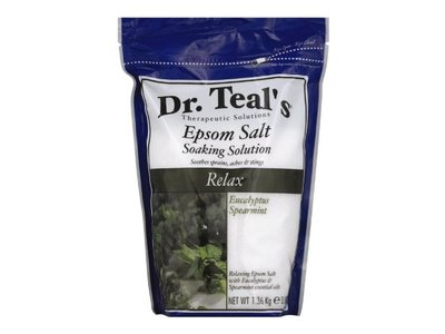 Dr Teal's Pure Epsom Salt Soaking Solution, Relax & Relief with Eucalyptus & Spearmint, 3 lbs - Image 1