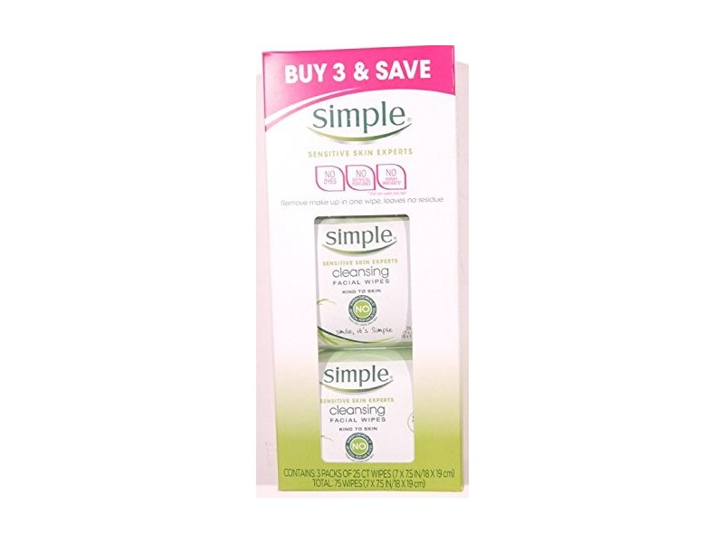 Simple Sensitive Skin Experts Cleansing Facial Wipes, 25 ct
