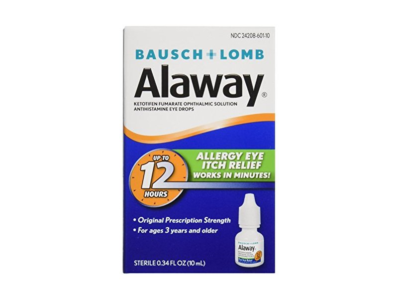 Bausch & Lomb Alaway Eye Itch Relief Drops 0.34 oz (Pack of 7)