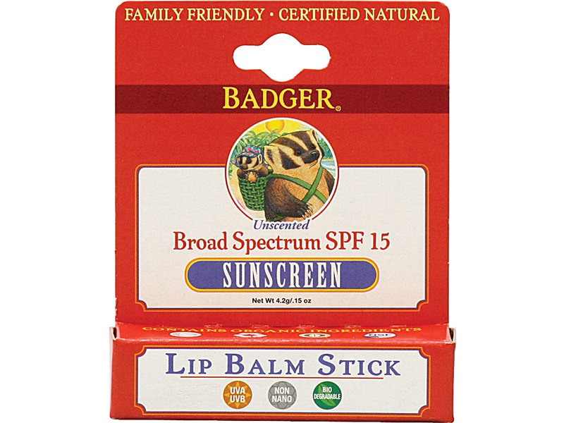 Badger Healthy Body Care Sunscreen Lip Balm, SPF15