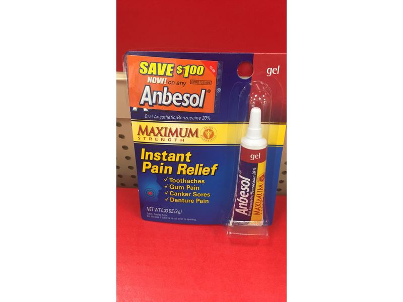 Anbesol Maximum Strength Oral Anesthetic Gel 0 33 Ounce