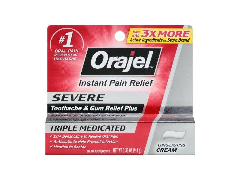 Orajel Severe Toothache & Gum Relief Cream, 0.33 Oz