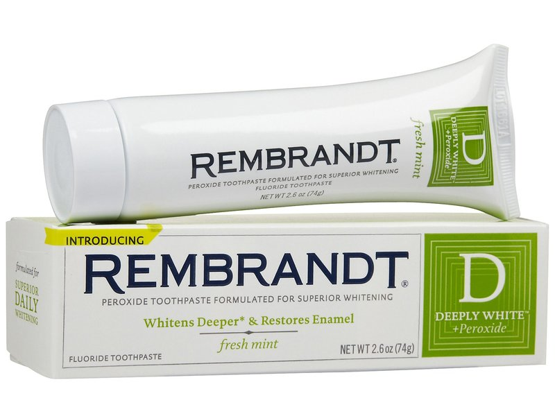 Rembrandt Deeply White + Peroxide Whitening Toothpaste With Fluoride, Fresh Mint, Johnson & Johnson
