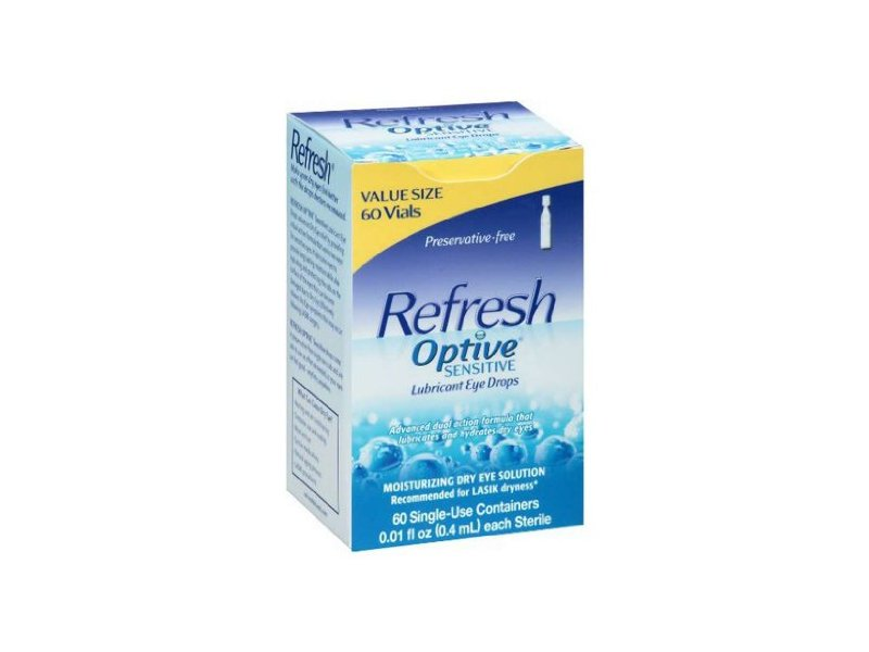 Refresh Optive Sensitive Lubricant Eye Drops Single Use Vials - 60 Ea - (Pack of 2)