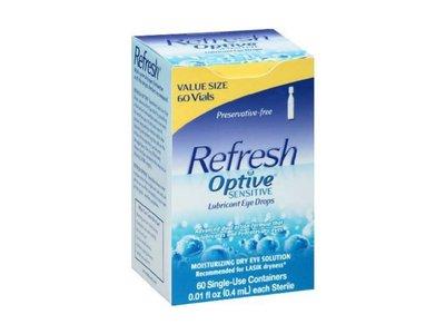 Refresh Optive Sensitive Lubricant Eye Drops Single Use Vials - 60 Ea - (Pack of 2)