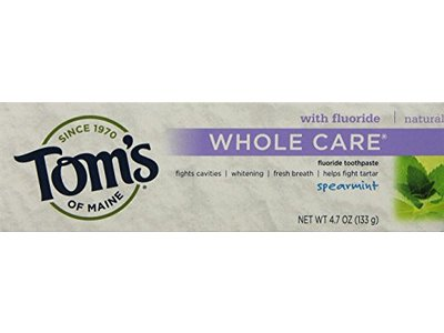 Tom's of Maine Whole Care Fluoride Toothpaste Spearmint,4.7oz..- 2 Count