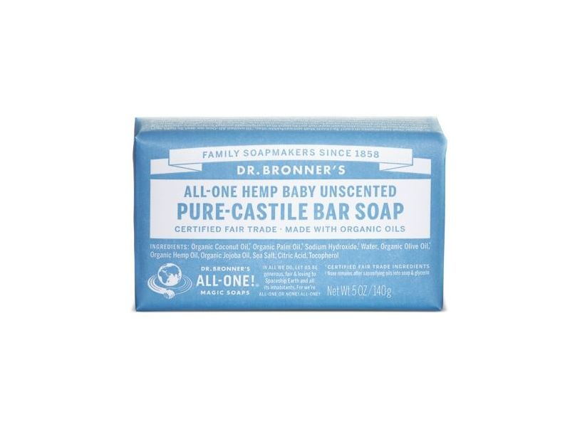 Dr. Bronner's All-One Hemp Baby Unscented Pure-Castile Bar Soap, 5 oz