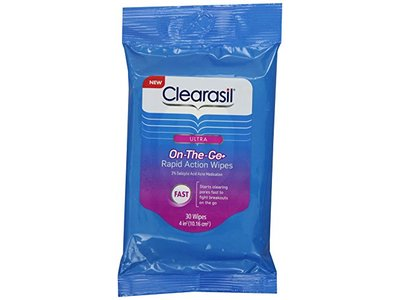 Clearasil Ultra Rapid Action On-to-Go Acne Treatment Wipes, 30 Count