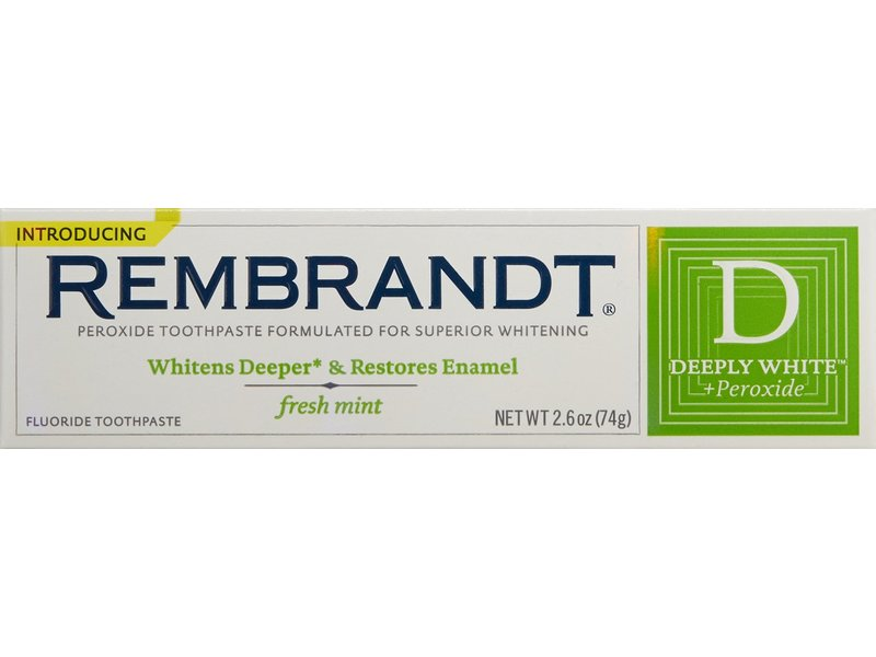 Rembrandt deeply white + peroxide toothpaste with fluoride, fresh mint, johnson & johnson