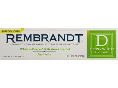 Rembrandt deeply white + peroxide toothpaste with fluoride, fresh mint, johnson & johnson - Image 1