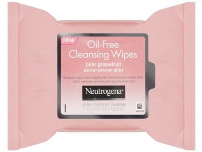 Neutrogena Oil-Free Cleansing Wipes, Pink Grapefruit, 25 Count