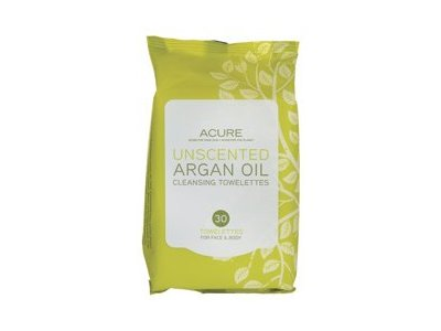 Acure Organics Argan Oil Cleansing Towelettes For Face & Body, Unscented, 30 Towelettes
