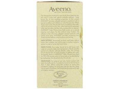Aveeno Daily Moisturizing Bath with Natural Colloidal Oatmeal, Fragrance Free 8 bath packets 6 oz - Image 6