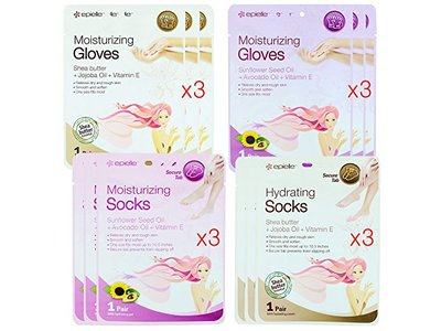 Epielle Assorted Moisturizing Gloves and Socks, Pack of 12