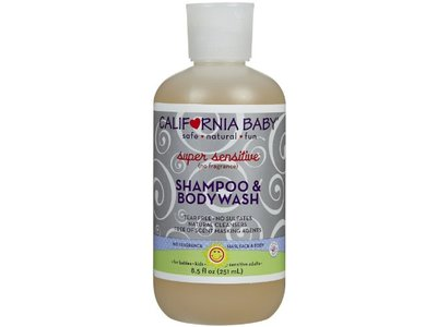California Baby Super Sensitive Shampoo and Body Wash, No Fragrance, 8.5 Ounce Bottle - Image 1