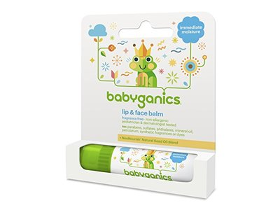Babyganics Lip and Face Balm, Fragrance Free, 0.25oz Stick (Pack of 4)