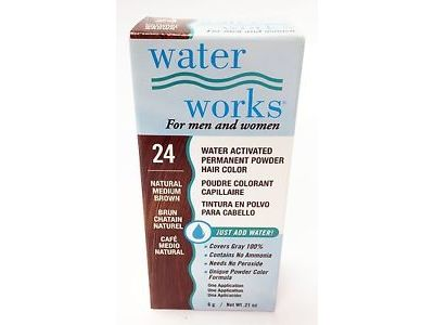 Water Works Water Activated Permanent Powder Hair Color, #24 Natural Medium Brown