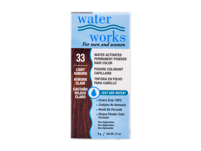 Water Works Water Activated Permanent Powder Hair Color, #33 Light Auburn
