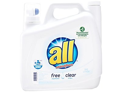 All Free Clear Liquid Laundry Detergent with Stainlifters, 150 fl oz (100 loads)