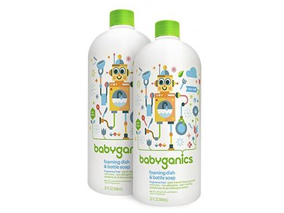 Babyganics Foaming Dish and Bottle Soap Refill, Fragrance Free, 32oz Bottle (Pack of 2)
