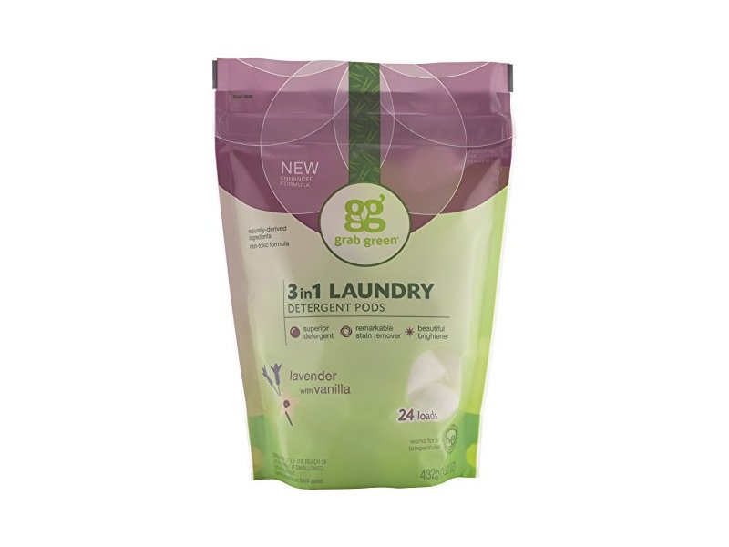 Grab Green 3-in-1 Laundry Detergent Pods, Lavender with Vanilla, 24 Loads