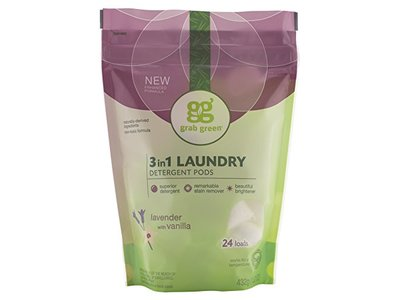 Grab Green 3-in-1 Laundry Detergent Pods, Lavender with Vanilla, 24 Loads - Image 1