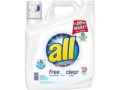 All Free Clear Liquid Laundry Detergent with Stainlifters, 169.5 fl oz