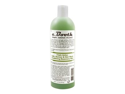C. Booth Triple Action Rosemary Bath Shower and Hair Wash, Mint, 16 Fluid Ounce