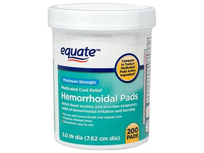 Equate Hemorrhoidal Pads, Medicated Cool Relief, Maximum Strength, 200 ct