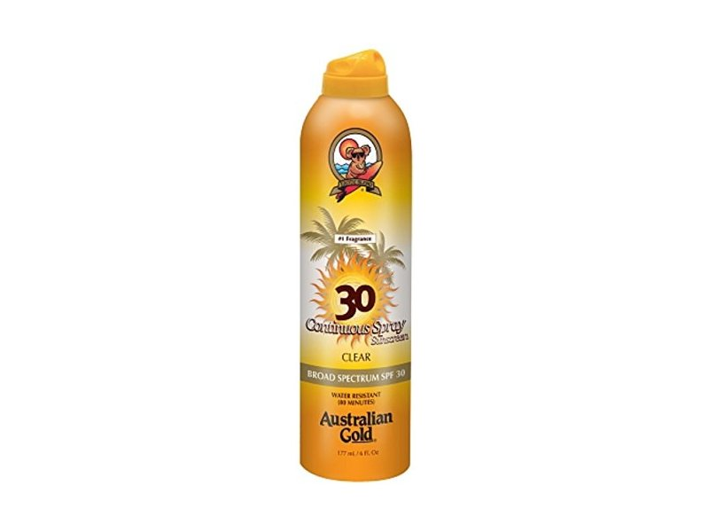 Australian Gold Gold Continuous Spray, SPF 30, Clear 6 oz (Pack of 4)