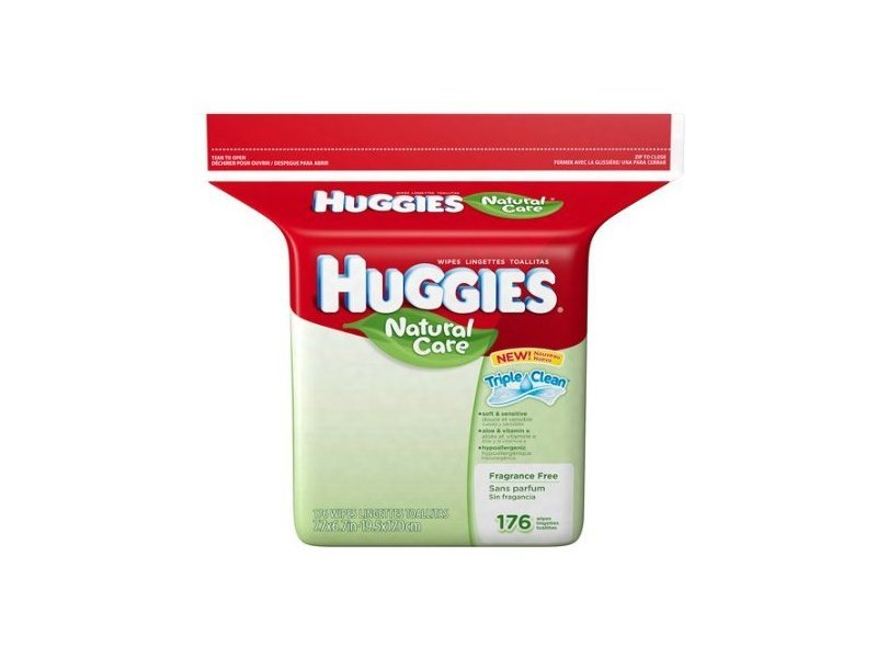 Huggies Natural Care Fragrance Free 176 Wipes Triple Clean