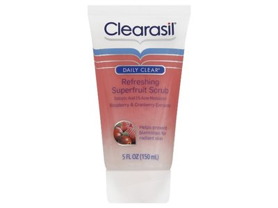 Clearasil Daily Clear Refreshing Superfruit Scrub with Acne Medication, Raspberry and Cranberry Extracts, 5 Ounce
