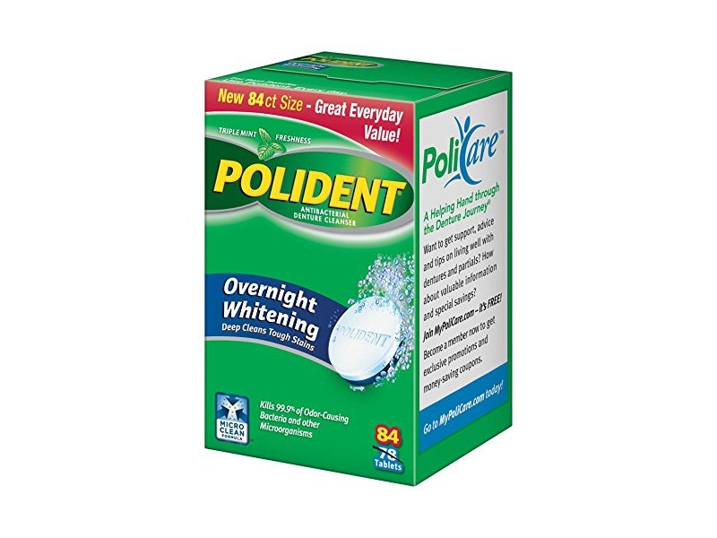 Polident Overnight Denture Cleanser, 84 Count