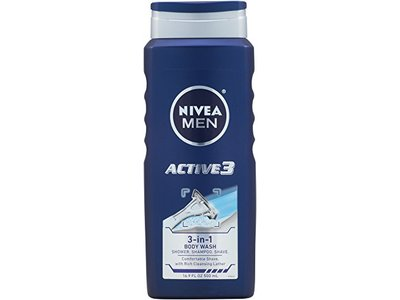 Nivea Men Active3 Body Wash for Body, Hair & Shave, 16.9 Ounce (Pack of 3)