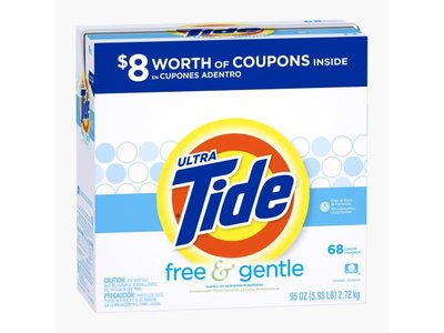 Tide Ultra Free And Gentle Powder Laundry Detergent, 68 Loads, 95 Oz