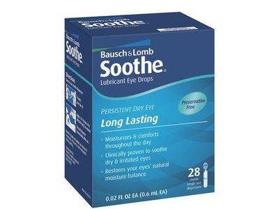 Bausch & Lomb Soothe Lubricant Preservative Free Eye Drops - 28 each, Pack of 3