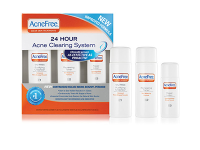Acnefree 24 Hour Acne Clearing System Kit - Purifying Cleanser 4 oz, Renewing Toner 4 oz, Repair Lotion 2 oz