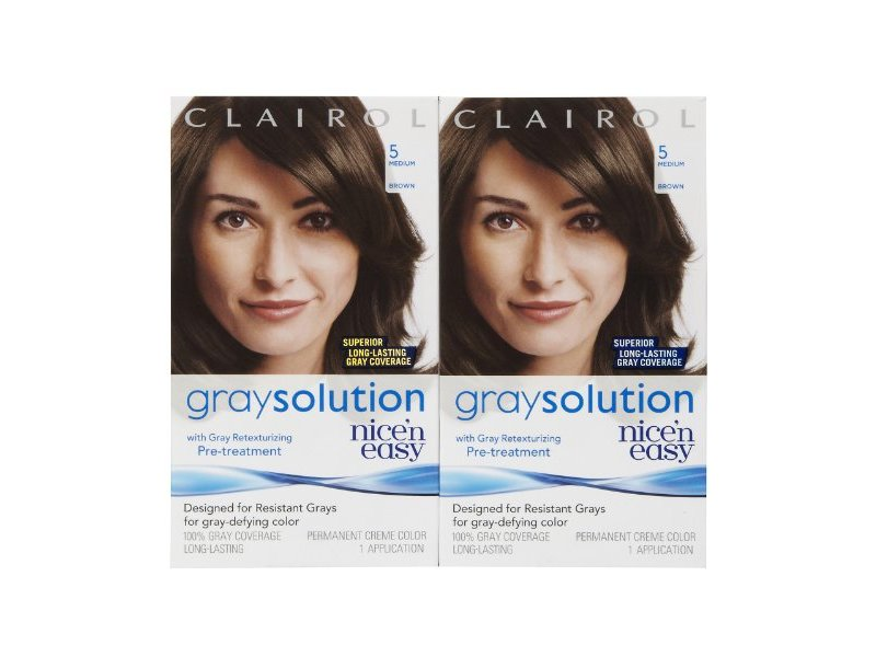 Clairol Nice'n Easy Gray Solution Hair Color, Medium Brown 005 1 ea