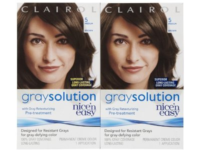 Clairol Nice'n Easy Gray Solution Hair Color, Medium Brown 005 1 ea - Image 1